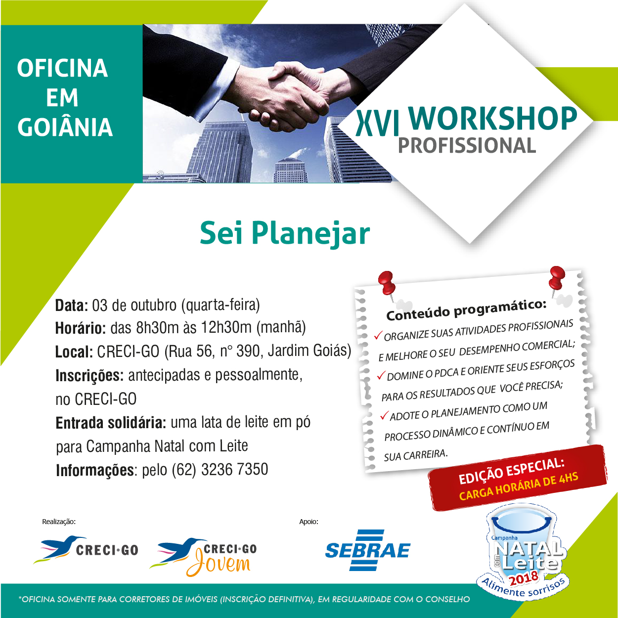 Sei Planejar é tema do Workshop Profissional | Creci-GO