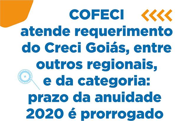 Prazo para pagamento da anuidade 2020 é prorrogado   CRECI-GO/ Conselho Regional de Corretores de Imóveis de Goiás