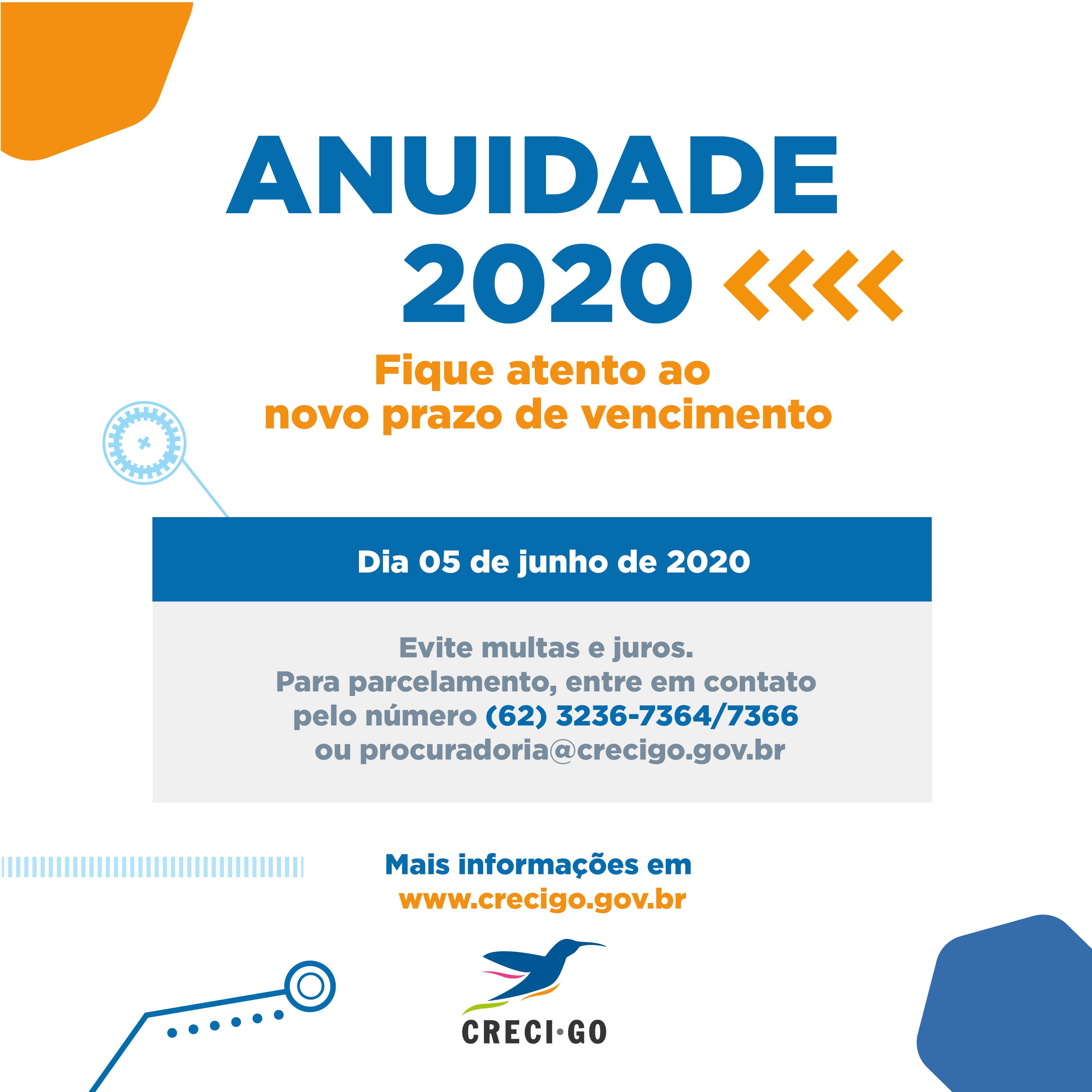 Lembrete anuidade 2020 | CRECI-GO/ Conselho Regional de Corretores de Imóveis de Goiás