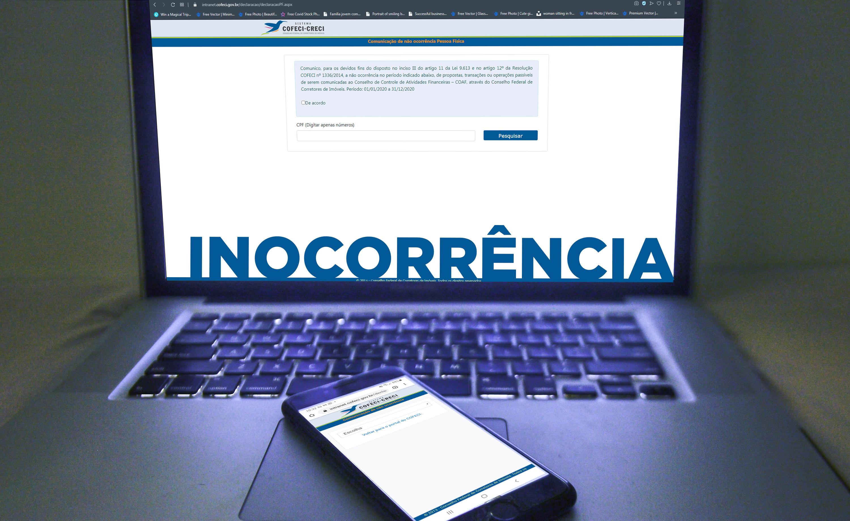 Declaração de Inocorrência | CRECI-GO/ Conselho Regional de Corretores de Imóveis de Goiás