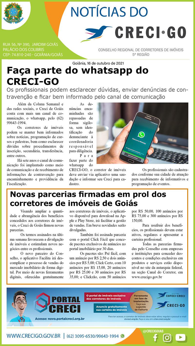 Coluna Semanal | CRECI-GO/ Conselho Regional de Corretores de Imóveis de Goiás